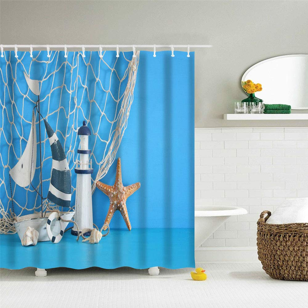 IcosaMro Nautical Shower Curtain for Bathroom with Hooks, Fishing Net Lighthouse Starfish Decorative Long Cloth Fabric Shower Curtain Bath Decorations- 71Wx72L, Blue