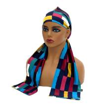 Bevel Double Layer Satin Edge Scarves For Black Hair Laying Scarves For Lace Frontal Wigs,Non Slip Hair Wrap For Women Keep Wig Secured ,Edge Styling Scarf Headband (Abstract Rectangle)