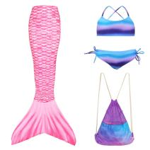 Play Tailor Girls Mermaid Tails for Swimming with Bikini and Backpack 4PCS Set