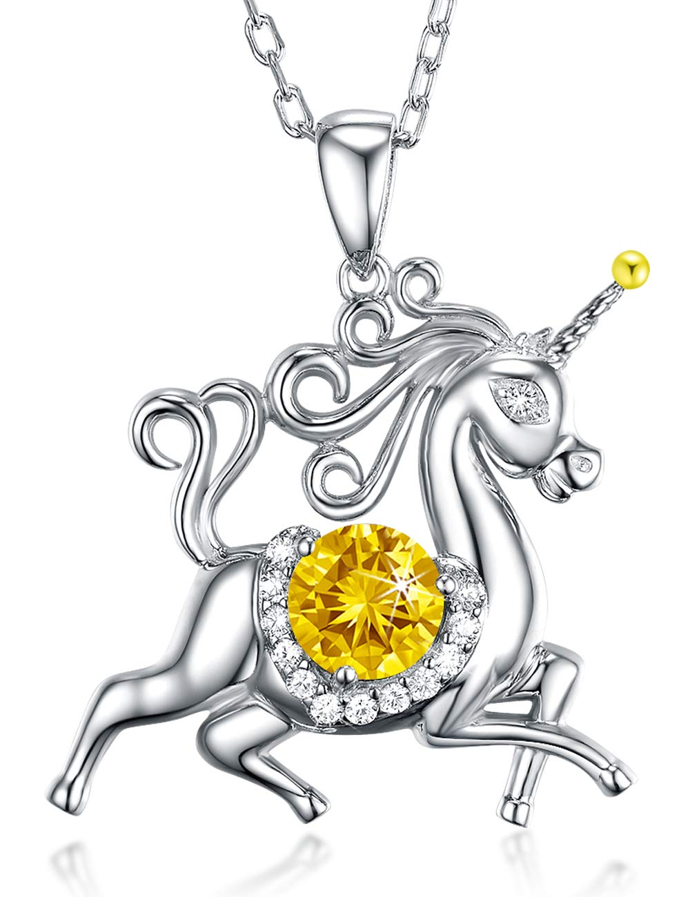 Birthday Gifts for Daughter Yellow Citrine Jewelry Unicorn Necklace for Teen Girls Granddaughter Sterling Silver Animal Necklace