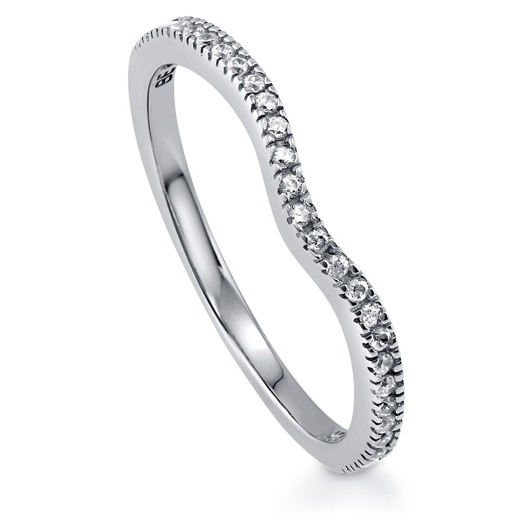 BERRICLE Rhodium Plated Sterling Silver Cubic Zirconia CZ Wishbone Wedding Curved Half Eternity Band Ring