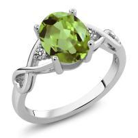 Gem Stone King 925 Sterling Silver Green Peridot & White Diamond Gemstone Birthstone 3-Stone Women's Ring 1.86 cttw (Available 5,6,7,8,9)