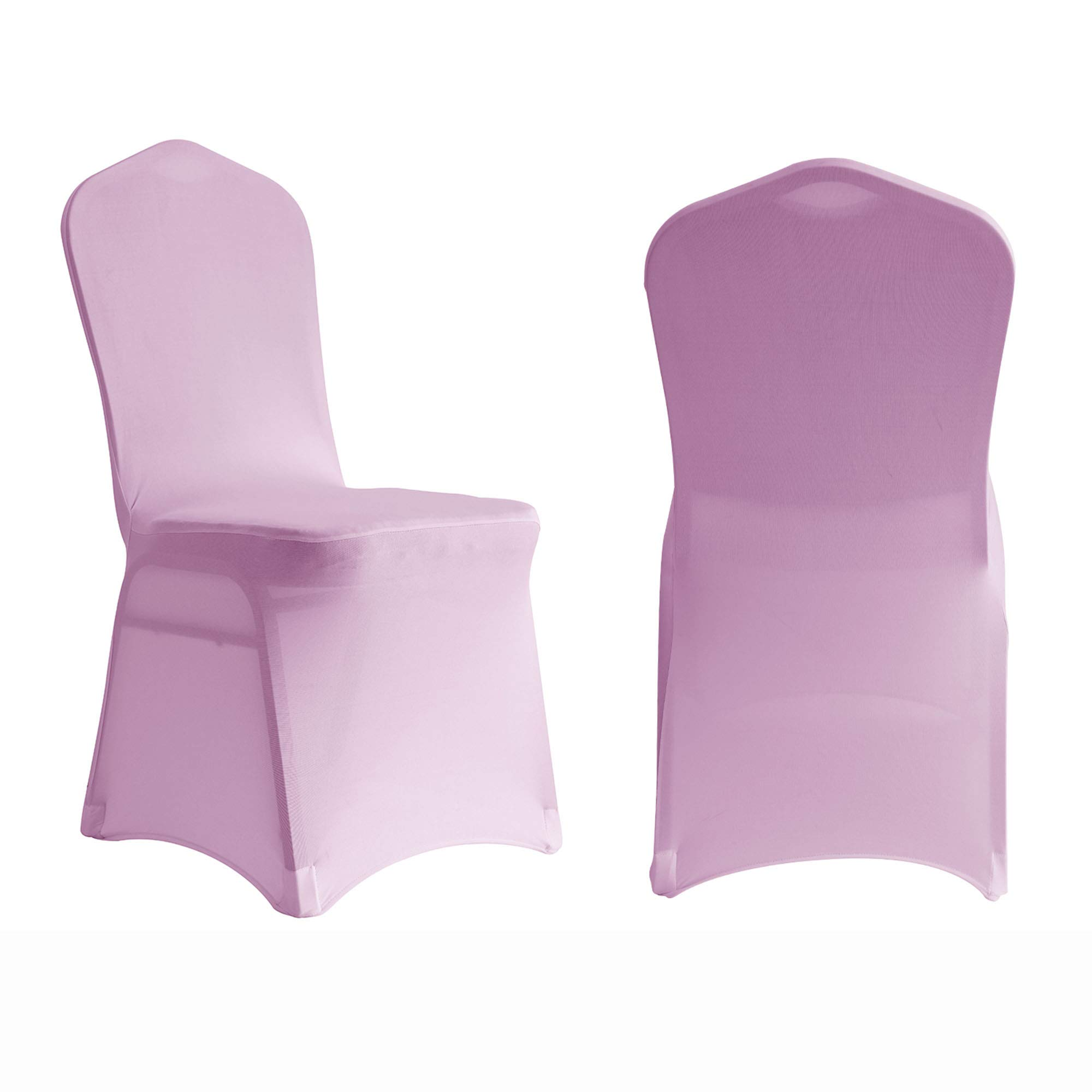 ManMengJi Chair Cover Spandex Lycra Stretch Slipcover 10 PCS, Suit for Wedding Anniversary Party Banquet, Elasticated Dining Room Chair Protector (Pink)