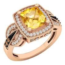 Dazzlingrock Collection 10K 8X7 MM Cushion Gemstone, Round Champagne & White Diamond Ladies Engagement Ring, Rose Gold