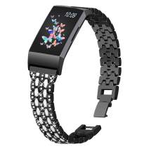 Joyozy Sleek Bling Bands Compatible with Fitbit Charge 4/Fitbit Charge 3/Fitbit Charge 3&4 SE Smartwatch,Dressy Rhinestone Jewelry Bracelet Replacement Strap Replacement Accessories for Women Girls