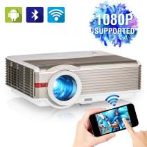 1080P Supported Video Projector with WiFi, Upgrade 5000 Lumen Home Cinema Projector with Android OS, Bluetooth, Compatible with Smartphone, TV Stick, DVD, PS4, HDMI/VGA/USB/VA for Outdoor Movie