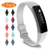 KingAcc Compatible Replacement Bands for Fitbit Alta HR, Fitbit Alta, Silicone Fitbit Alta HR Band Alta Band, Buckle Wristband Strap Women Men (1-Pack, White, Small)