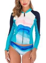 Bonvince Womens Rash Guard Long Sleeve Sun Protection Full Zip Front Split Rashguard Swimsuit Bathing Suit