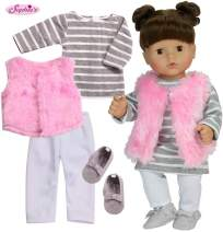"""Sophia's 4 Pc. Doll Clothes of 15"""" Baby Doll Outfit with Stripe T-Shirt Dress, Pink Shaggy Vest, White Leggings Set, Vest and Gray Suede Moccasins of Baby Doll Shoes 