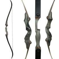 Huntingdoor 60inch Hunting Bow Archery Recurve Bow Takedown Bow Longbow for Right Handed 30 40 50lbs Wooden Riser for Targeting Shooting