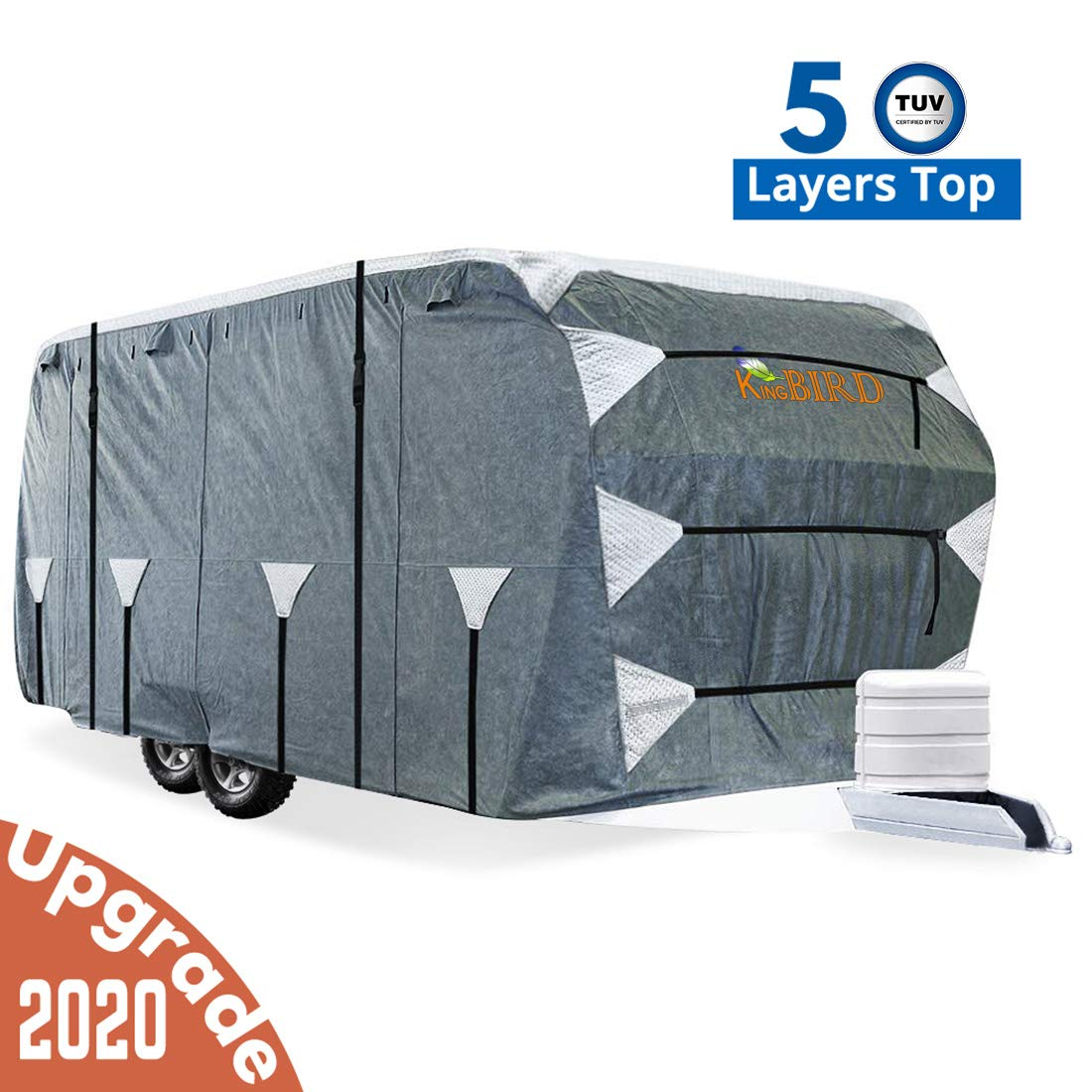 KING BIRD Upgraded Travel Trailer RV Cover, Extra-Thick 5 Layers Anti-UV Top Panel, Deluxe Camper Cover, Fits 27'- 30' RV Cover -Breathable, Water-Repellent, Rip-Stop with 2Pcs Straps & 4 Tire Covers