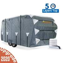 KING BIRD Upgraded Travel Trailer RV Cover, Extra-Thick 5 Layers Anti-UV Top Panel, Deluxe Camper Cover, Fits 22'- 24' RV Cover -Breathable, Water-Repellent, Rip-Stop with 2Pcs Straps & 4 Tire Covers