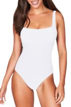 COCOLEGGINGS Womens Square Neck Cheeky High Cut One Piece Bathing Suit Swimsuit