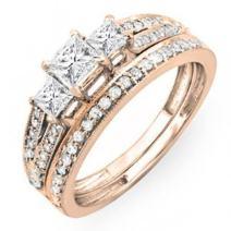 Dazzlingrock Collection 1.00 Carat (ctw) 14K Gold Princess Cut 3 Stone Diamond Engagement Bridal Ring Set Matching Band 1 CT