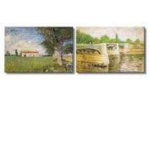"""wall26? - Farmhouse in a Wheat Field/The Seine with The Pont de la Grande Jatte by Vincent Van Gogh 
