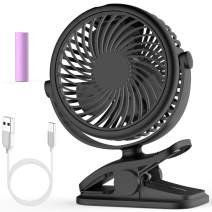 Stroller Fan, Cambond Clip On Fan Battery Operated Fan Rechargeable 2200mAh Battery, USB Cable, 3 Adjustable Speed, Desk Table Portable USB Small Fan for Travel Camping Fishing Boating, Black