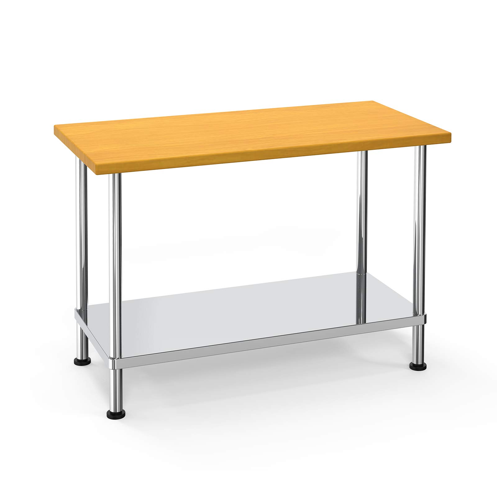 """Nurxiovo Maple Top Work Table, Commercial Prep Table with Adjustable Stainless Steel Base Shelf for Restaurant, Kitchen, 48"""" Long x 24"""" Wide x 36"""" Tall"""