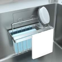 ODesign Sponge Brush Holder 3-in-1 Adhesive Sink Caddy Dishcloth Scrub Hanger Rack Kitchen Sink Organizer No Drilling Stainless Steel Rustproof Waterproof