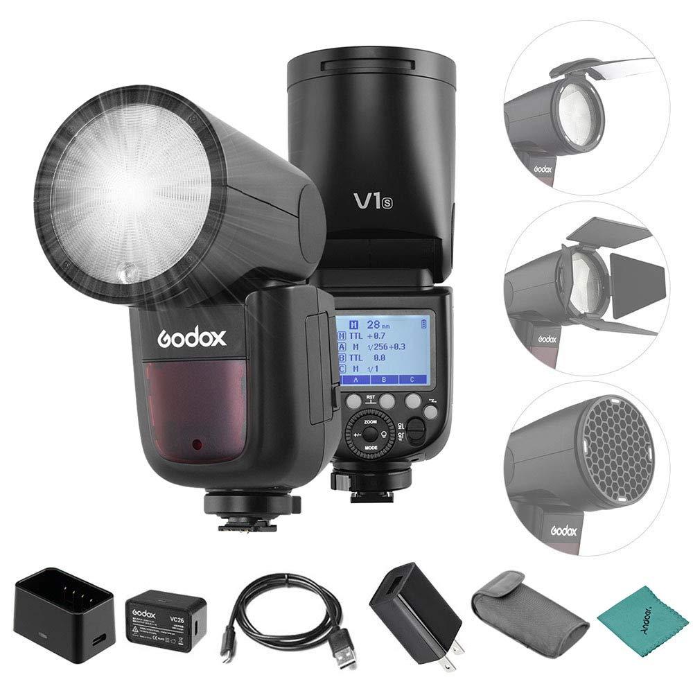 Godox V1S Flash Camera Flash Speedlite Round Head Wireless 2.4G Fresnel Zoom for Sony a7RII a7R a58 a99 ILCE6000L a7RIII a7R3 a9 a77II a77 a350 Camerasfor Wedding Portrait Studio Photography