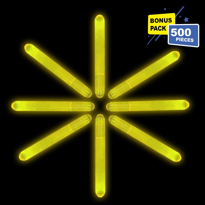 Lumistick 2 Inch Mini Glowsticks - Ultra Bright Glow in The Dark Party Favors Neon Light Sticks - Freshly Made Illuminating Water Proof Fluorescent Sticks Brightest 4-6 hrs (Yellow, 500 Glow Sticks)