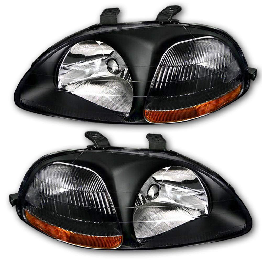 JSBOYAT For 1996 1997 1998 Honda Civic Headlight Assembly Driver and Passenger Side Headlamps Replacement Pair Black Housing Amber Reflector