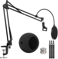 Blue Snowball Microphone Stand and Blue Snowball iCE Suspension Boom Scissor Arm Stand with Mic Windscreen and Dual Layered Mic Screen Pop Filter Heavy Duty Boom Scissor Arm Stands,Broadcasting