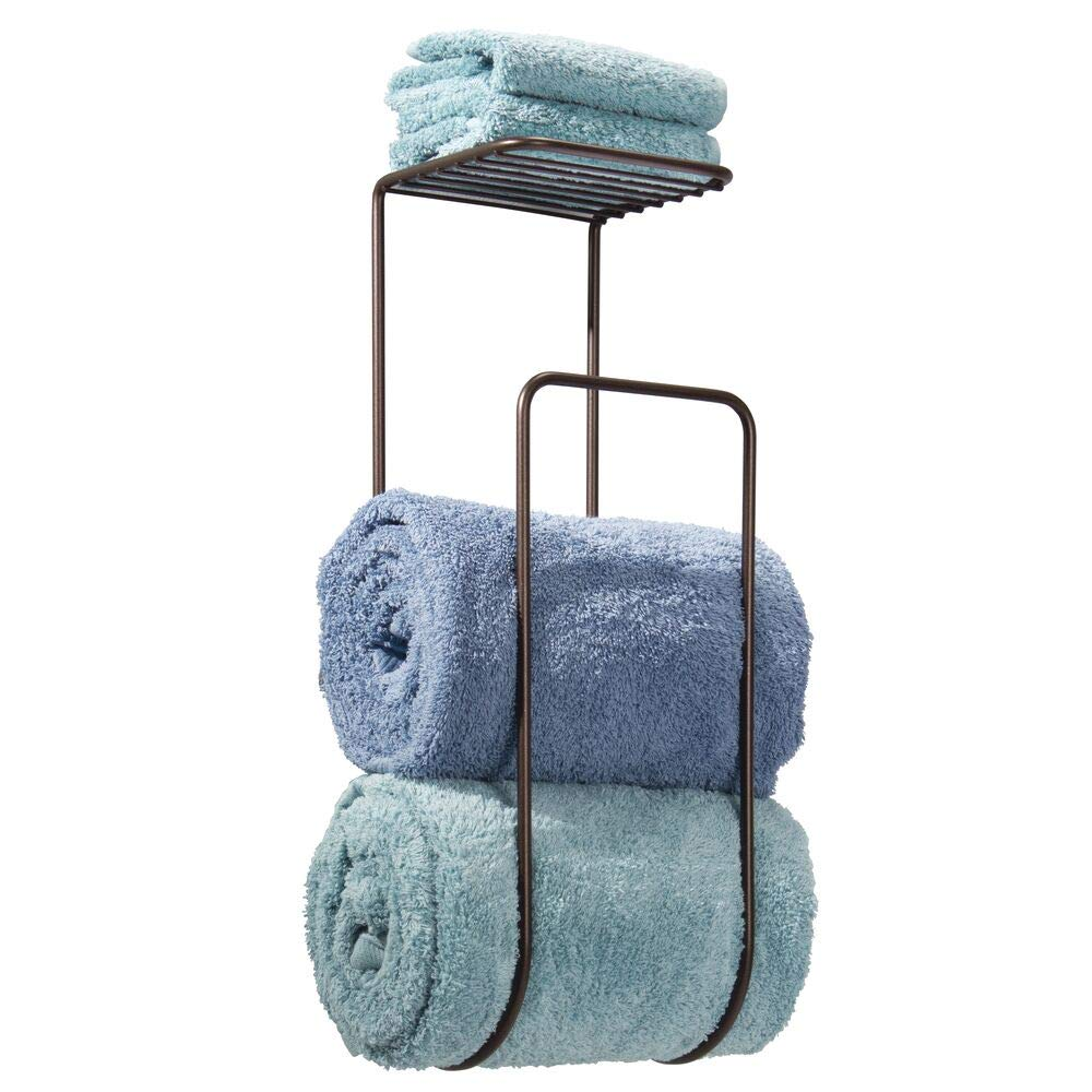 mDesign Modern Metal Wall Mount Towel Rack Holder and Organizer with Storage Shelf for Bathroom Organizing of Washcloths, Hand/Face or Bath Towels, Beach Towels - Bronze