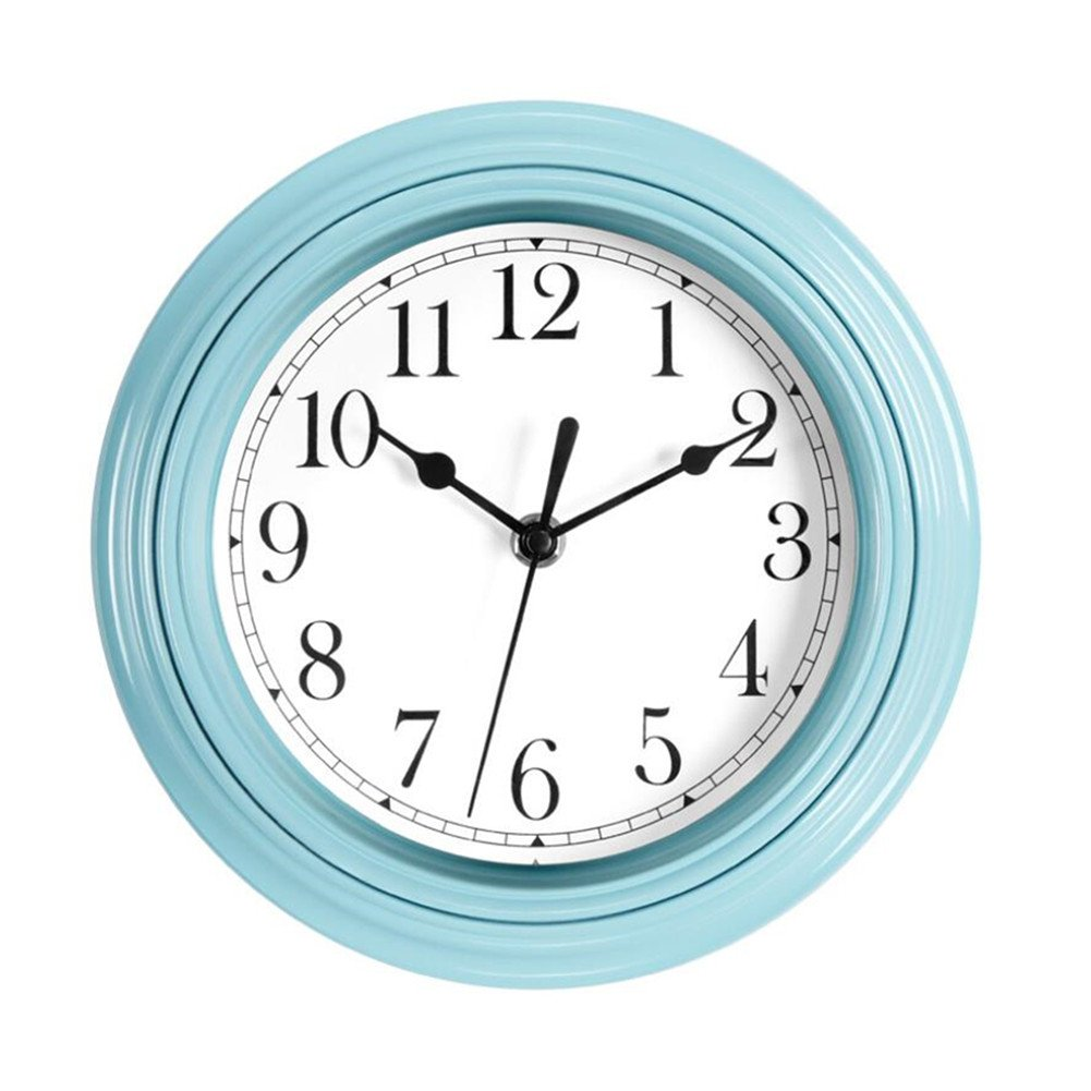 Foxtop Blue Wall Clock - 9 inch Silent Non-Ticking Quartz Decorative Battery Operated Clock Modern Style for Girls Kids Kitchen Classroom Nursery Room Easy to Read