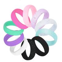 COOLOO 10 Pack Silicone Wedding Ring for Women, Premium Wedding Bands Thin and Stackable Durable Comfortable Rubber Rings, Black White Pink Silver