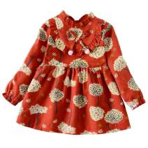 MODNTOGA Kid Baby Girls Ruffled Collar Long Sleeve Princess Party Wedding Flower Dresses