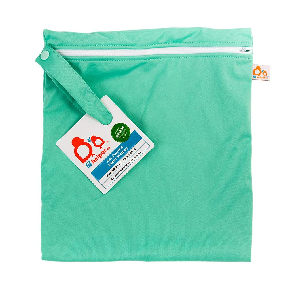 Lil Helper Zipper Wet Bag for Diapers – Waterproof, Dry, Washable – Travel, Beach, Pool, Daycare, Soiled Baby Items, Swimsuits, Clothes (Mint)