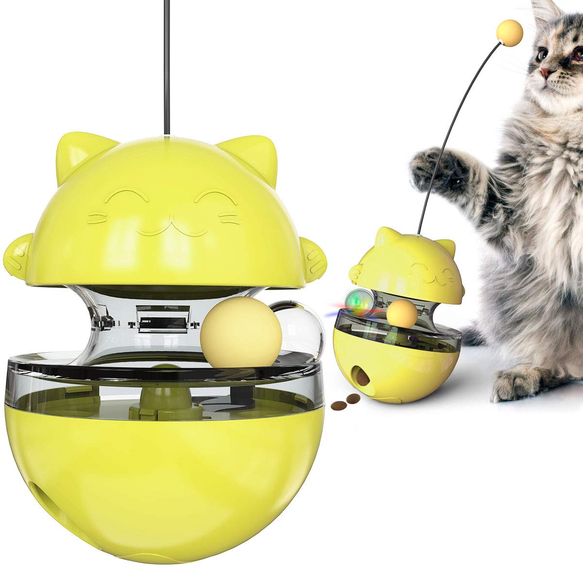 LHI Shakes The cat Toy to Make The cat take a Selfie Freely, so as to Relieve The Boring Toy Without Leaking The Ball