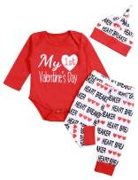 Valentines Outfits Baby Boy Girl My First Valentine Long Sleeve Romper and Pant with Hat 3Pcs Clothes Set