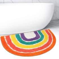 SHACOS Semi Circle Bathroom Rug 20x32 inch Microfiber Rainbow Bath Rug Non Slip Absorbent Washable Bathroom Floor Rug Bath Mat
