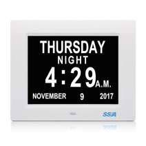 dxmart Impaired Vision Dementia Clock, Large Digital Memory Calendar Alarm Day Clock with Optional Day Cycle,Alarm,Perfect for Elderly,Wall Mounted 8 Inch White