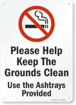 "SmartSign""Please Help Keep The Grounds Clean, Use The Ashtrays Provided"" Sign 