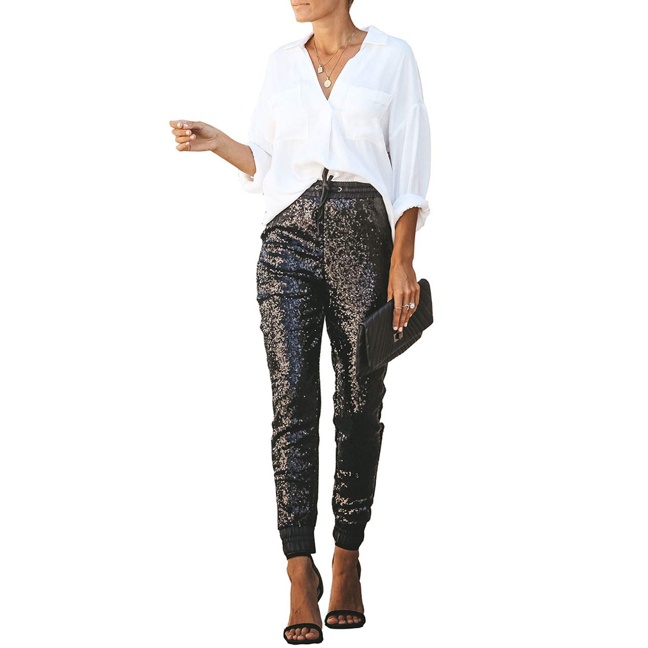 Salimdy Womens Fashion Sequin Pencil Pants with Drawstring Faux Leather Patchwork Glitter Long Trousers