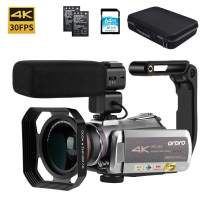 "Video Camera 4K Camcorder ORDRO 4K Ultra HD 30FPS Digital Video Camera WiFi Recorder IR Night Vision 3.1"" IPS Touch Screen with Stereo Microphone, Wide Angle Lens and Camera Holder"