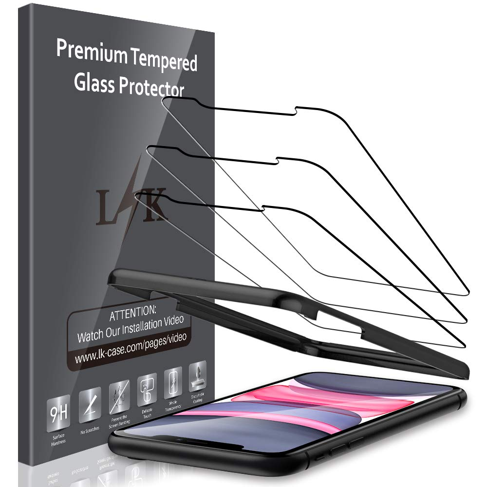 LK [3 Pack] Screen Protector for iPhone XR and iPhone 11 6.1'' Tempered Glass Film (Alignment Frame Easy Installation) HD Clarity, Bubble Free, Anti Scratch, Case Friendly