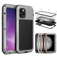 iPhone 11 Pro Max Case, Amever Aluminum Metal Case with Silicone Frame - Water Resistant Shockproof Heavy Duty Tempered Glass Screen Protector Dual Layer Protective Case for iPhone 11 Pro Max - Silver