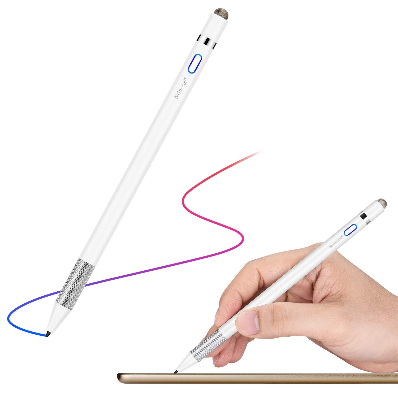 Nsiucion Stylus Pen Optimized for iPad & Pro (2018-2019), No Need Glove Anti-Friction, 1.0mm Ultra Fine Nib, High Sensitive Capacitive Digital Pen (White)