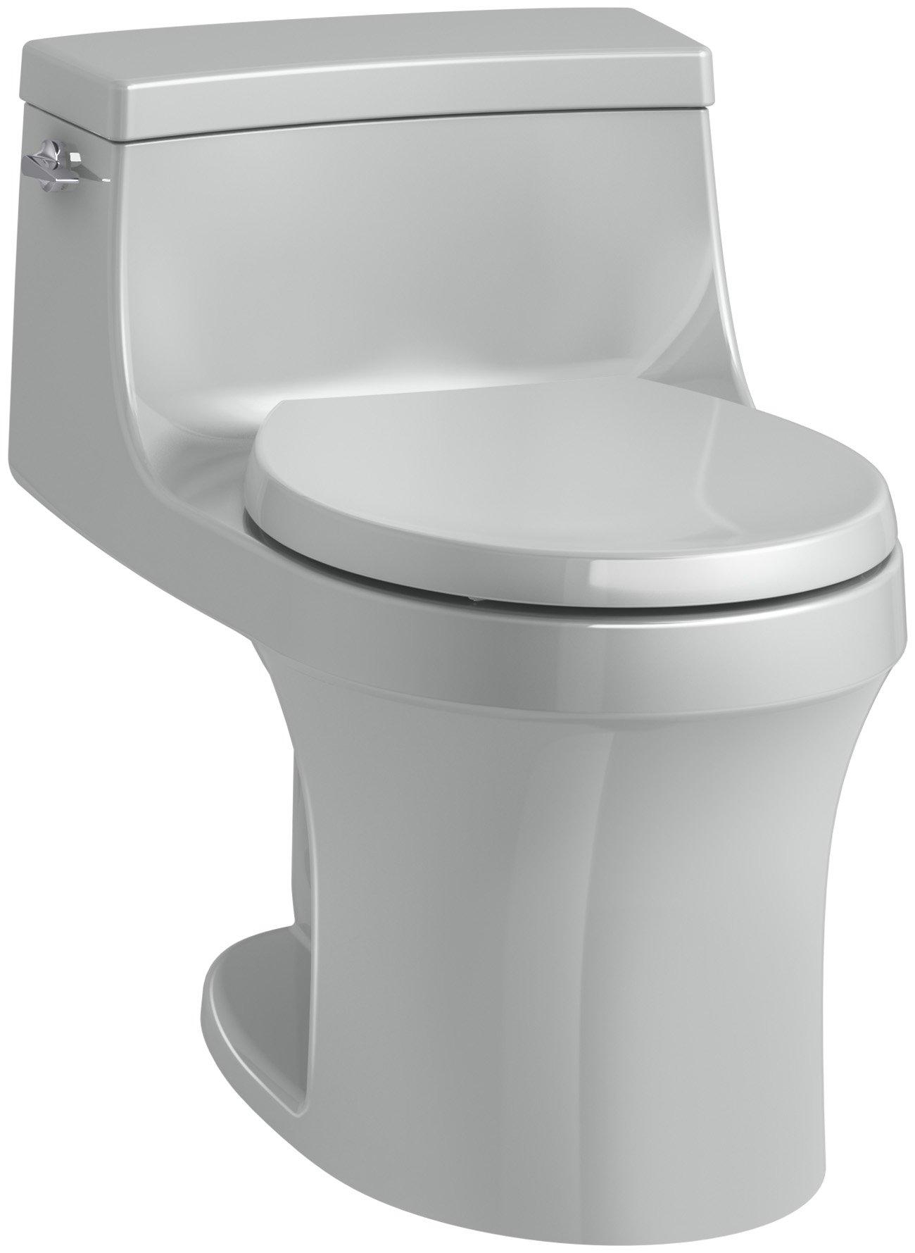KOHLER K-4007-95 San Souci Round-Front 1.28 GPF Toilet with AquaPiston Flushing Technology and Left-Hand Trip Lever, Ice Grey, 1-Piece