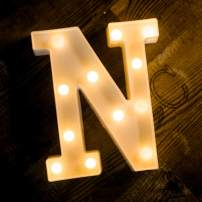 Foaky LED Letter Lights Sign Light Up Letters Sign for Night Light Wedding Birthday Party Battery Powered Christmas Lamp Home Bar Decoration (N)