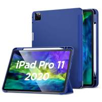 ESR for iPad Pro 11 Case 2020 & 2018 with Pencil Holder, Rebound Pencil iPad Case with Soft Flexible TPU Back Cover, Auto Sleep/Wake, and Multiple Viewing Stand Modes - Blue
