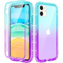 Caka iPhone 11 Case with Screen Protector, iPhone 11 Glitter Clear Case for Girls Women Full Body Protective Bling Sparkle Rhinestone Diamond Girly Slim Soft Case for iPhone 11 6.1inches -Teal Purple