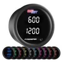 """GlowShift 10 Color Digital 2200 F Dual Pyrometer Exhaust Gas Temperature EGT Gauge Kit - Includes Type K Probes - 2 Multi-Color LED Displays - Tinted Lens - for Car & Truck - 2-1/16"""" (52mm)"""