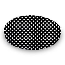 SheetWorld Round Crib Sheets - Primary Polka Dots Black Woven - Made In USA