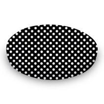 SheetWorld Round Crib Sheets - Primary Polka Dots Black Woven - Made In USA