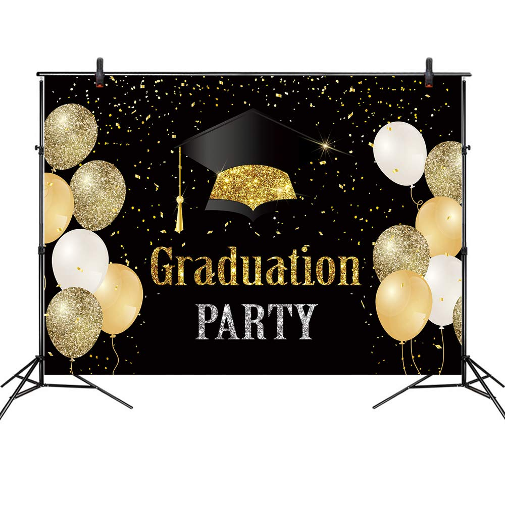 LB 7x5ft Graduation Backdrop Vinyl Congrats Grad Class of 2020 Gold Glitter Balloon Backdrops for Photography for Senior Prom Party Banner Photo Booth Studio Props