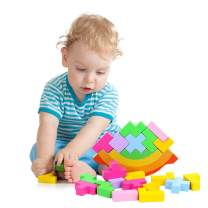 JETM·HH Wooden Stacking Blocks Balancing Game, Montessori Learning Toys for Toddlers, 20 Pcs Color Tetris Block, Preschool Educational Kids Rocking Toy, Equilibrium Game